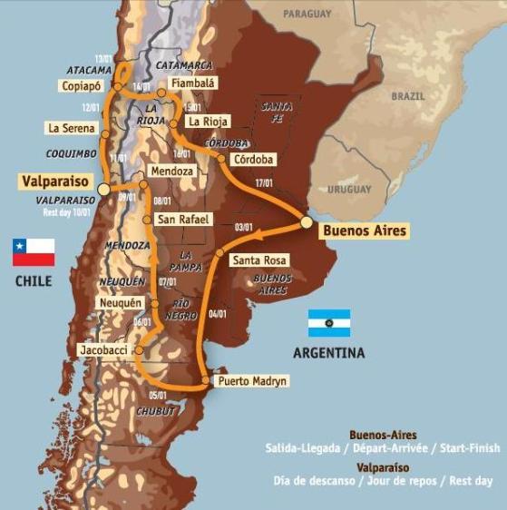 Dakar Argentina Chile 2009 – Recorrido