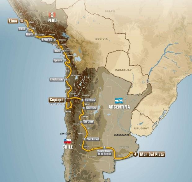 Rally Dakar 2012, recorrido confirmado